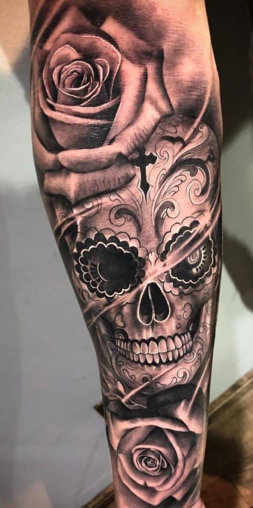 Sugar Skull and Rose Tattoo