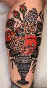 Traditional Flower Bouquet Tattoo