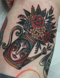 Traditional Flower Bouquet Tattoo