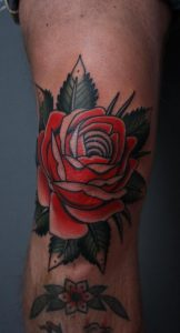 Traditional Flower Knee Tattoo