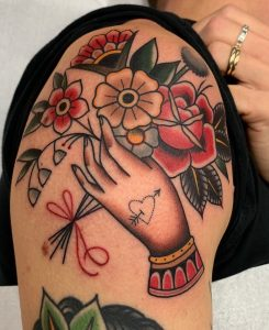 Traditional Flower Shoulder Tattoo
