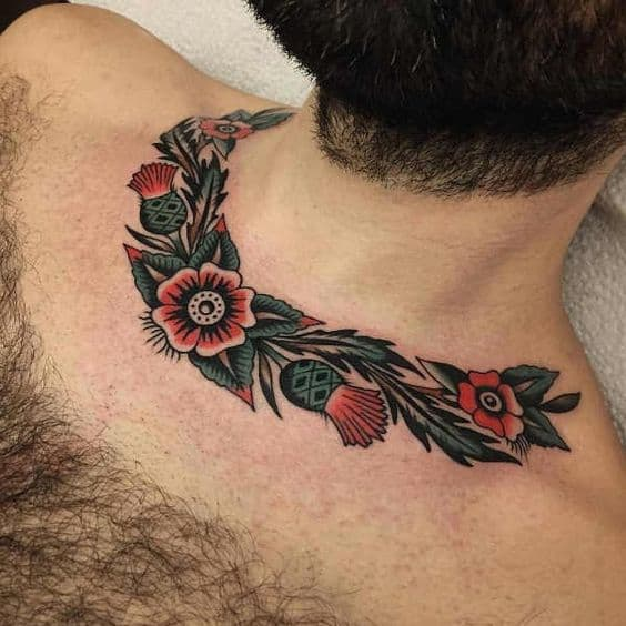 American Traditional Flower Tattoo