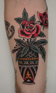 Traditional Flower Vase Tattoo