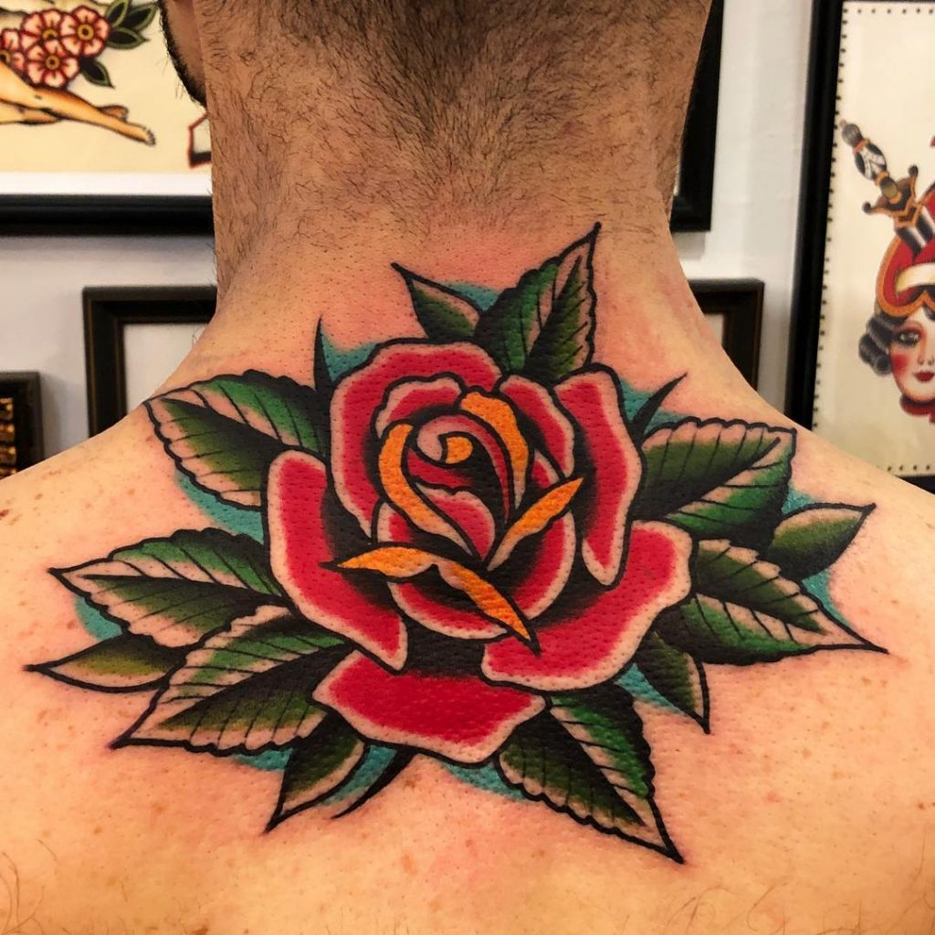 Traditional Red Rose Tattoo
