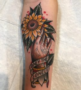 Traditional Sunflower Tattoo