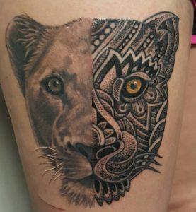 Tribal Lioness Tattoo