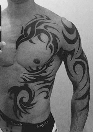 Tribal Phoenix Chest Tattoo
