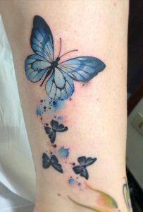 Watercolor Blue Butterfly Tattoo