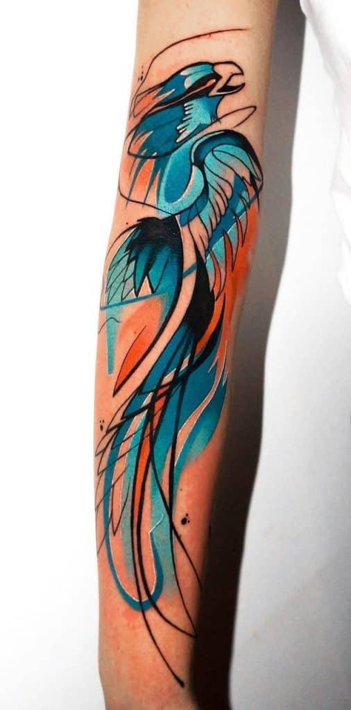 Watercolor Blue Phoenix Tattoo