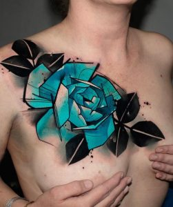 Watercolor Blue Rose Tattoo