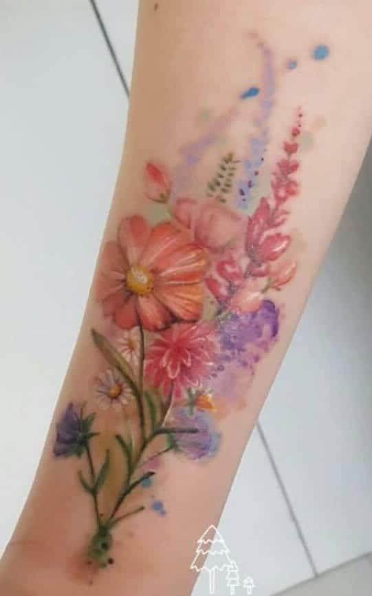 Watercolor Bouquet Flower Tattoo