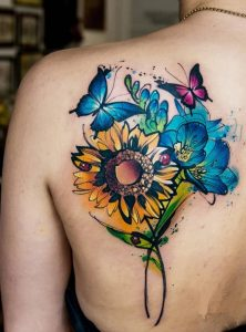 Watercolor Butterfly and Flower Tattoo