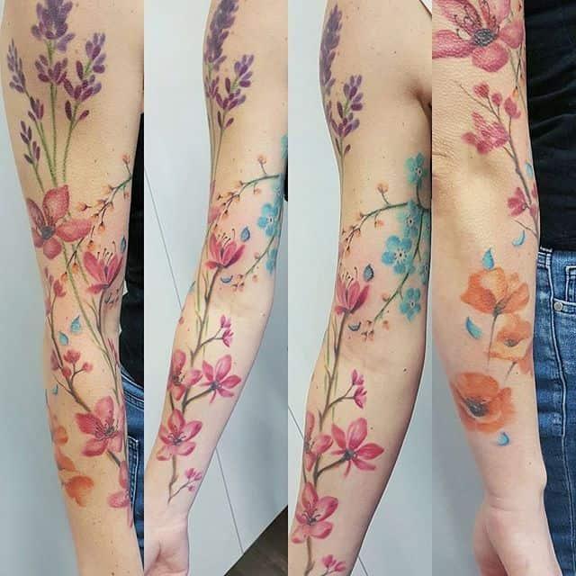 Watercolor Flower Tattoo Sleeve