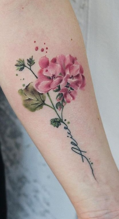 Watercolor Flower Tattoo with Words