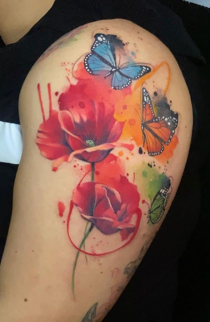 Watercolor Flower and Butterfly Tattoo