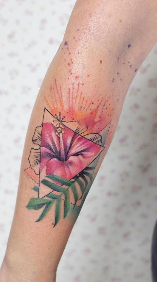 Watercolor Hibiscus Tattoo