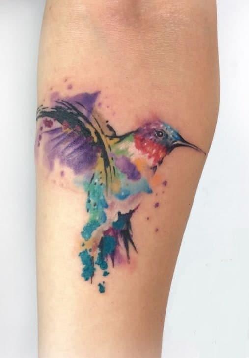Watercolor Hummingbird Tattoo