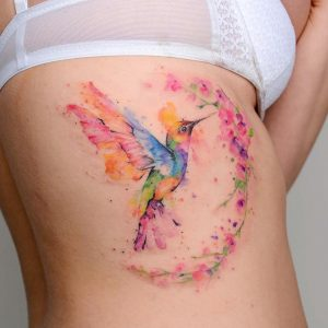Watercolor Hummingbird Tattoo with Flower