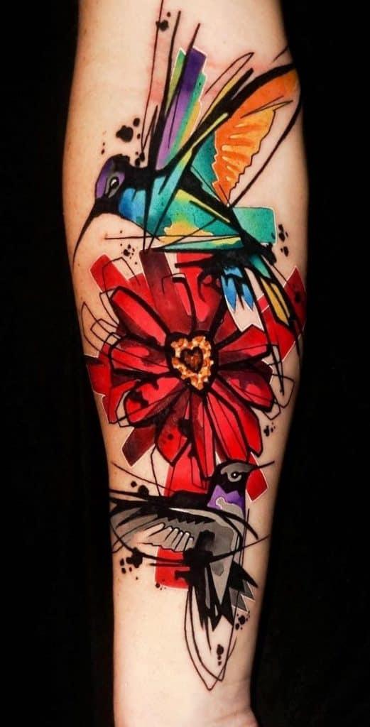 Watercolor Hummingbird and Flower Tattoo