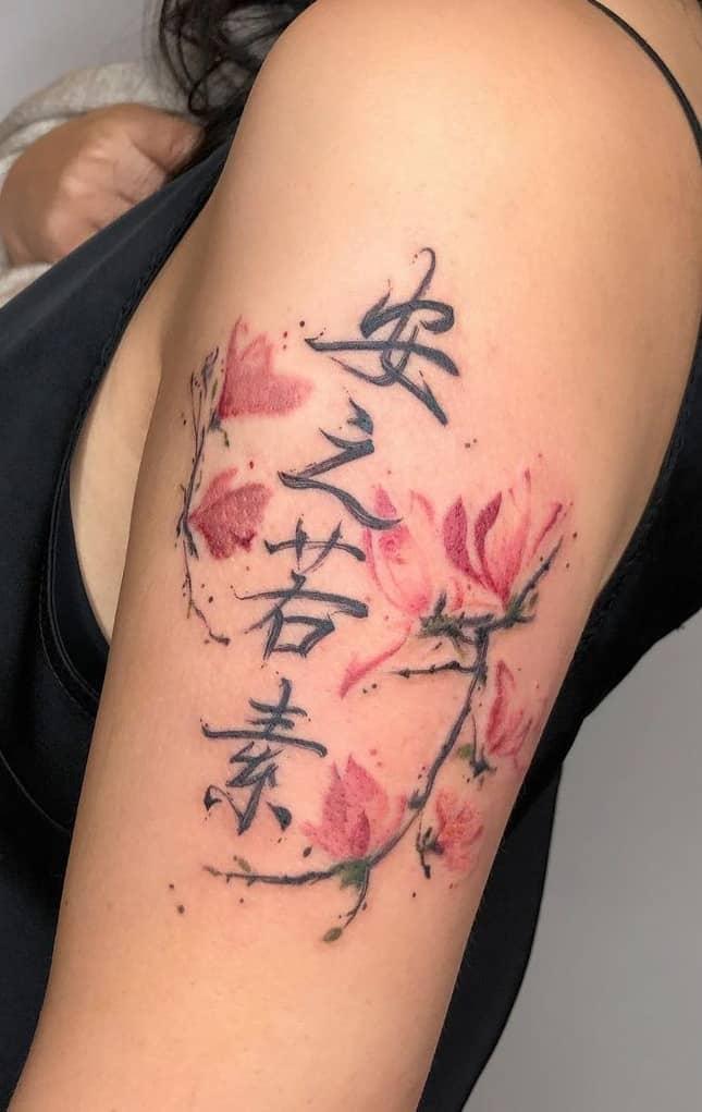Watercolor Magnolia Tattoo