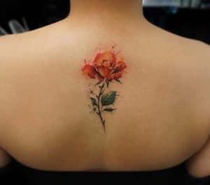 Watercolor Orange Rose Tattoo