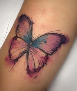 Watercolor Purple Butterfly Tattoo