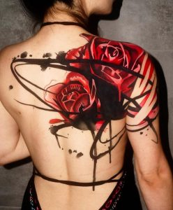Watercolor Red Roses Tattoo