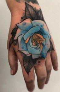 Watercolor Rose Hand Tattoo