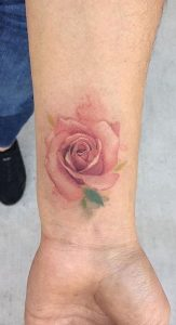 Watercolor Rose Tattoo on Wrist