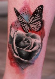 Watercolor Rose and Butterfly Tattoo