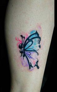 Watercolor Semicolon Butterfly Tattoo