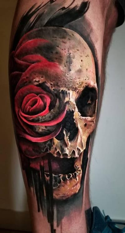 Watercolor Skull and Rose Tattoo
