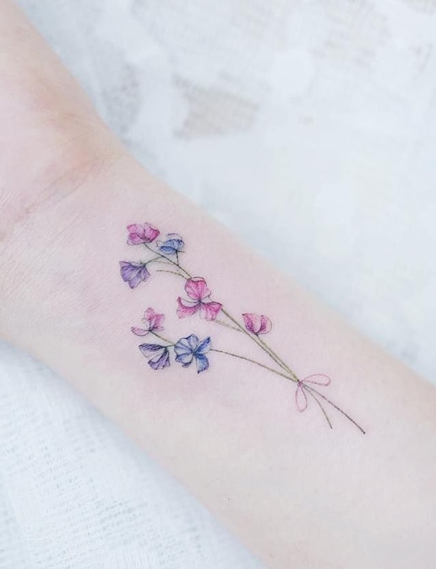Watercolor Sweet Pea Flower Tattoo