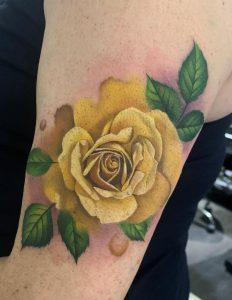 Watercolor Yellow Rose Tattoo