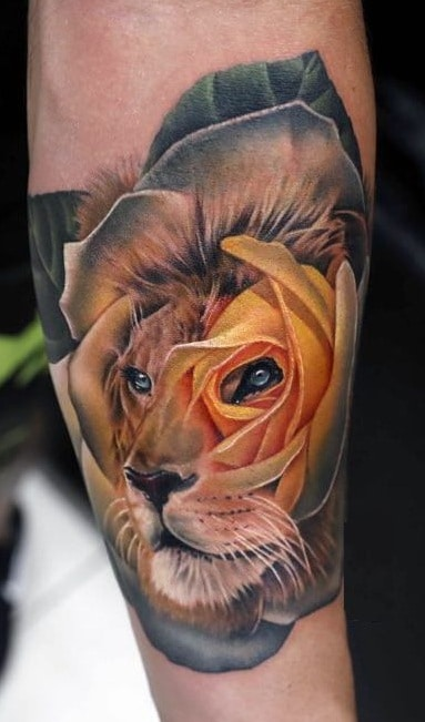 Yellow Rose and Lion Tattoo