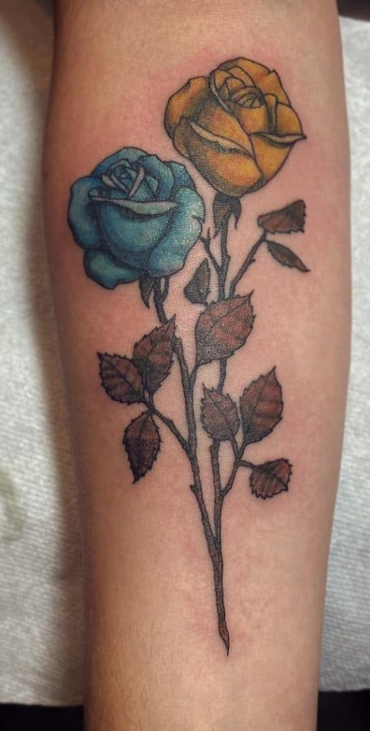 Yellow Rose and Blue Rose Tattoo