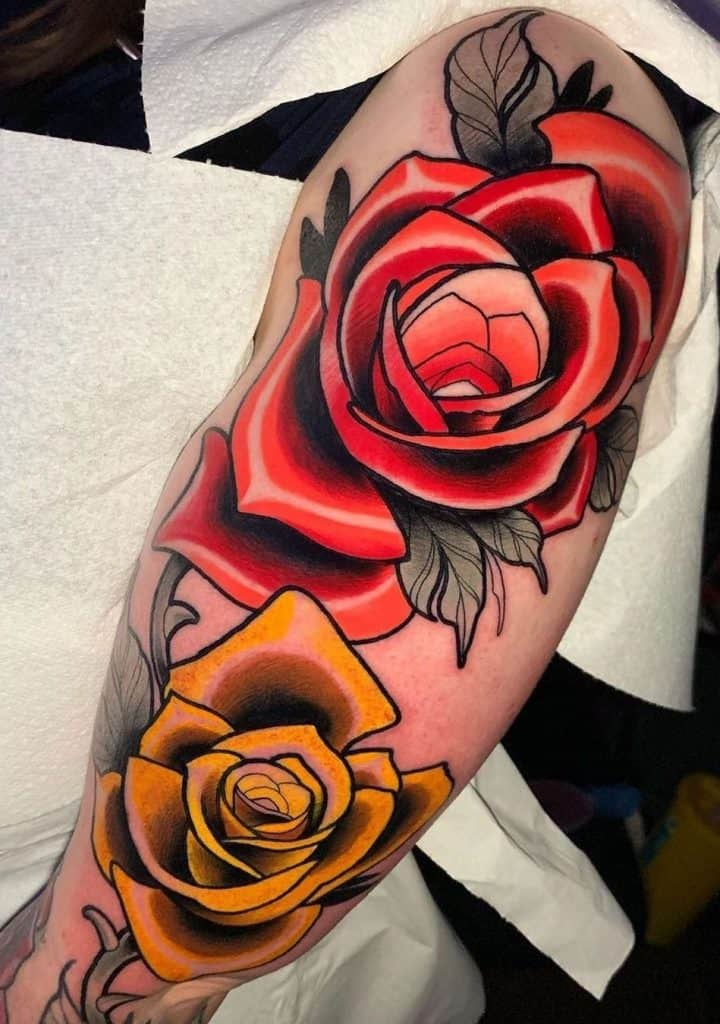Blue and Red Rose Tattoo