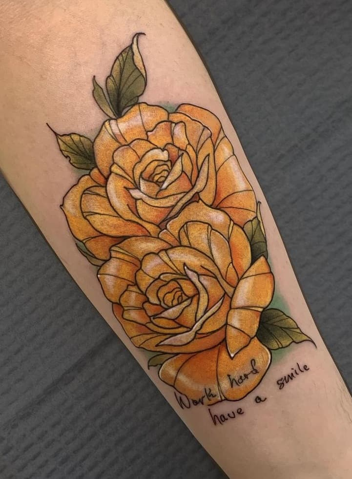 Yellow Rose with Lettering Tattoo