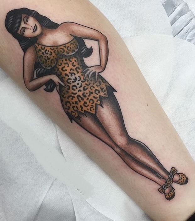 American Traditional Pin-Up Tattoo