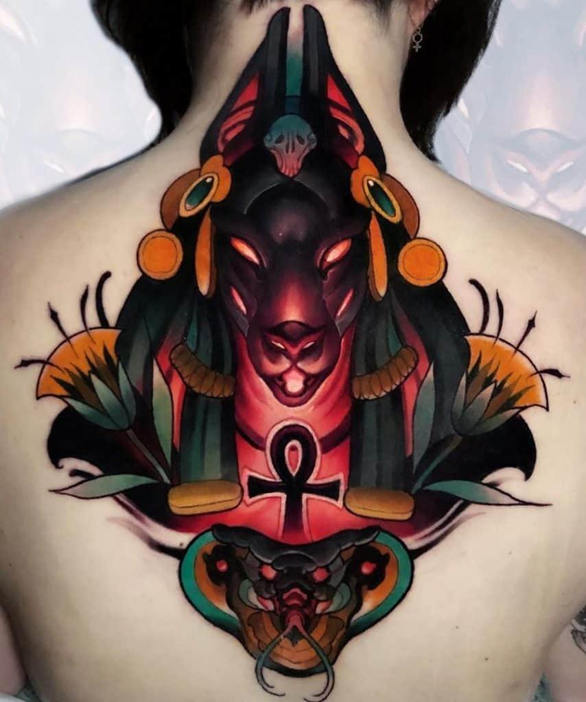 Anubis and Ankh Tattoo