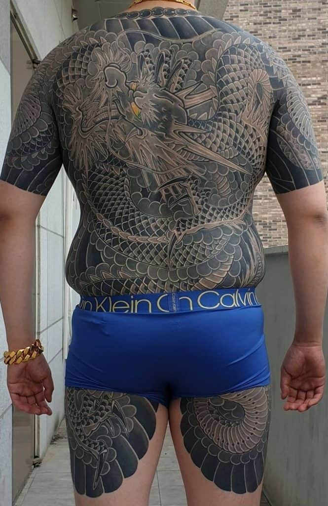 Black and Grey Japanese Dragon Tattoo