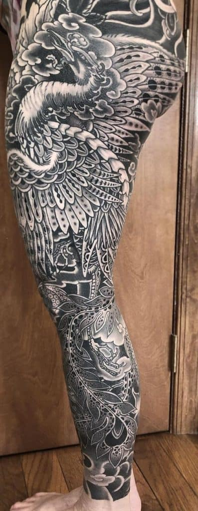 Black and Grey Japanese Phoenix Tattoo