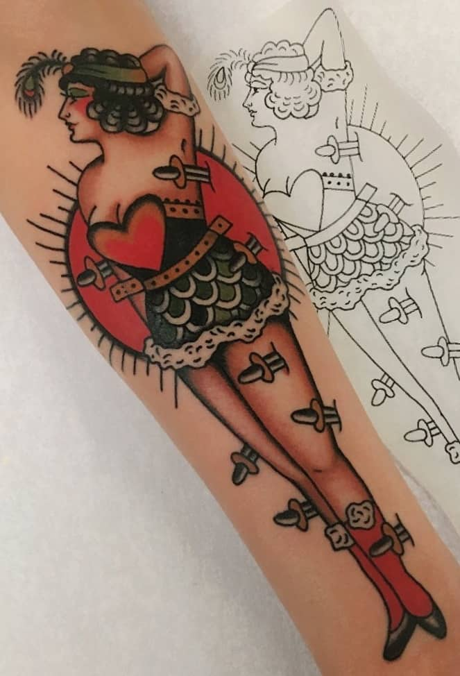 Dagger and Pin-Up Tattoo