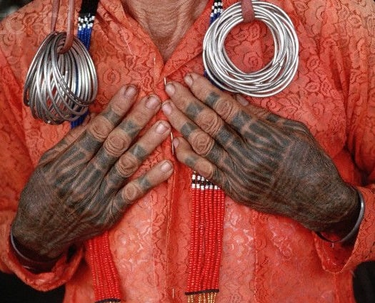 Dayak Woman with Tattooed Hands