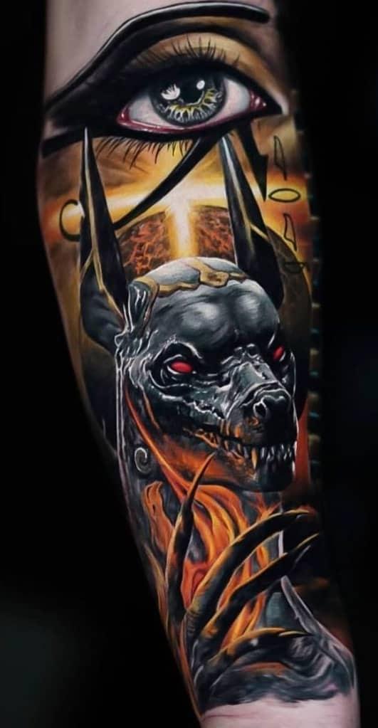 Eye of Horus and Anubis Tattoo