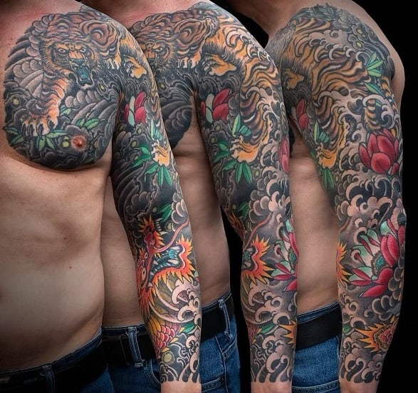 Japanese Dragon and Tiger Tattoo