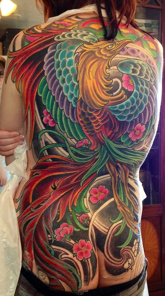 Japanese Phoenix Back Tattoo