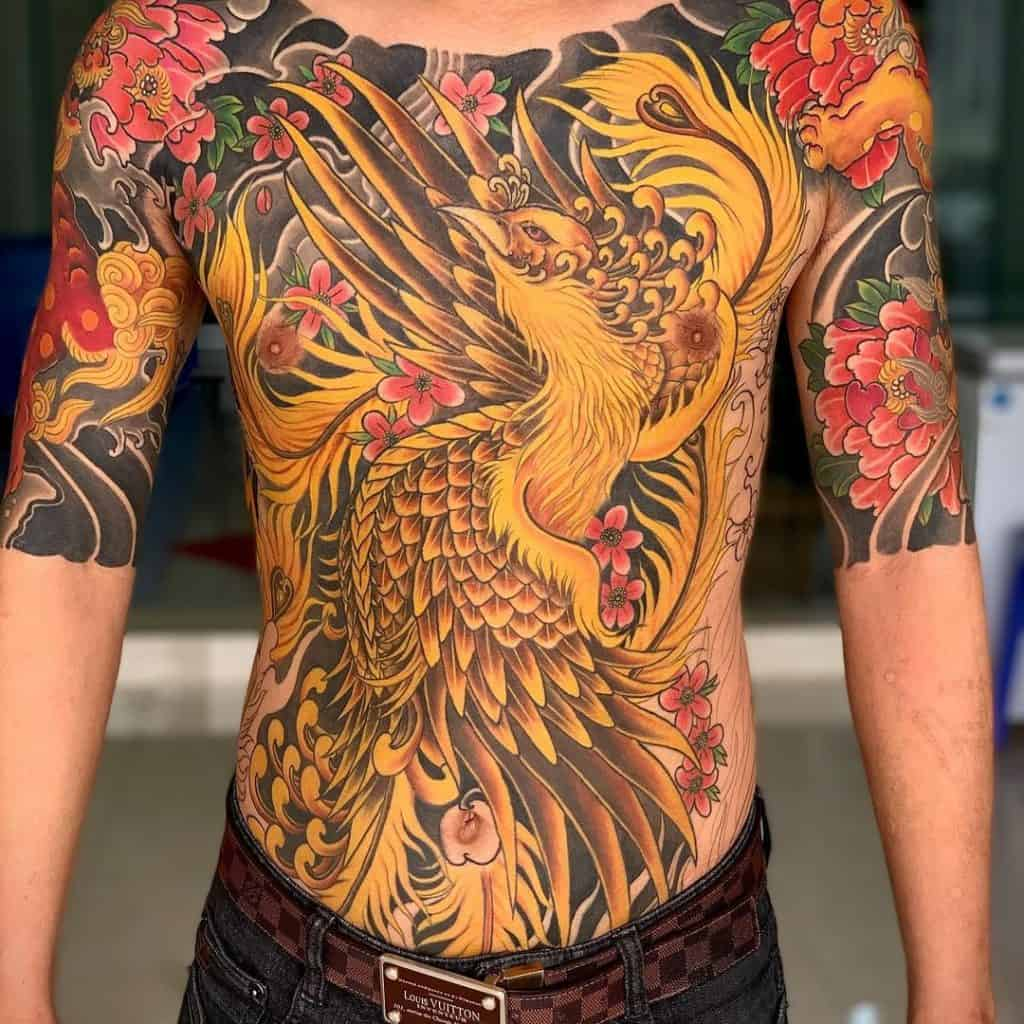 Japanese Phoenix Chest Tattoo