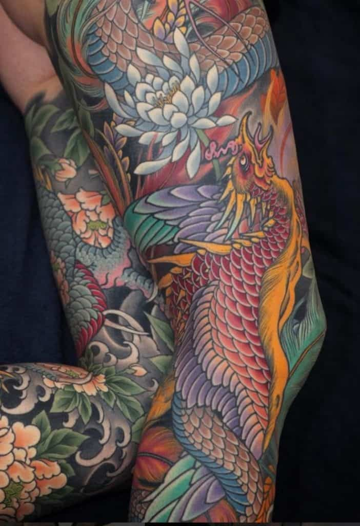 Japanese Phoenix Leg Tattoo