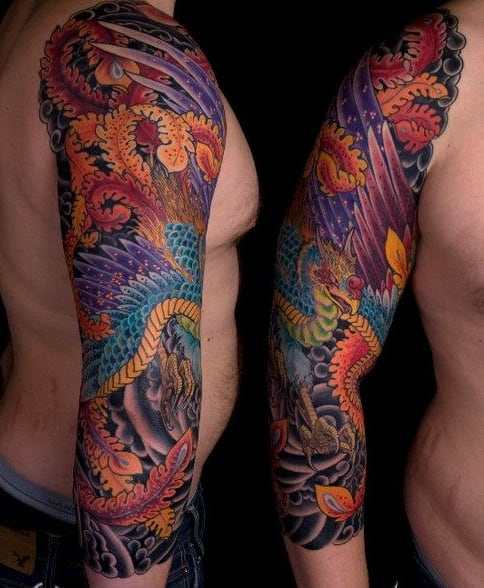 Japanese Phoenix Tattoo Sleeve